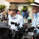 A destra Vittorio Storaro con Woody Allen sul set di Café Society