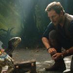 Chris Pratt osserva una piccola creatura in Jurassic World - Il regno distrutto di J.A. Bayona (Jurassic World: Fallen Kingdom, USA, Spagna 2018)