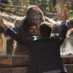 Simbiosi totale tra Frank Matano e l'animale del titolo in Attenti al gorilla di Luca Miniero (Italia, 2019)