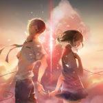 I due personaggi Taki e Mitsuha in un momento pregnante di Your Name di Makoto Shinkai (Kimi no na wa, Giappone 2016)