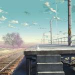 Una poetica immagine tratta da Oltre le nuvole. Il luogo promessoci di Makoto Shinkai (Giappone, 2004)
