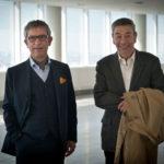 Gianfelice Imparato e Gianni Di Gregorio sul set di Buoni a nulla (Italia, 2014)