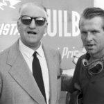 Il grande Enzo Ferrari con il pilota Peter Collins in Ferrari : un mito immortale di Daryl Goodrich (Ferrari: Race to Immortality, UK 2017)