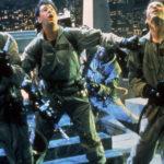 Harold Ramis, Dan Aykroyd e Bill Murray in azione durante Ghostbusters di Ivan Reitman (USA, 1984)