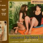 Agostina Belli con un giovane Christian De Sica nel manifesto promozionale di Conviene far bene l'amore di Pasquale Festa Campanile (Italia, 1975)