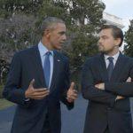 L'ex Presidente degli Stati Uniti Barack Obama e Leonardo DiCaprio in un momento del documentario Before the Flood - Punto di non ritorno di Fisher Stevens (USA, 2016)