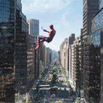 L'Uomo Ragno in volo libero durante Spider-Man: Far From Home di Jon Watts (USA, 2019)