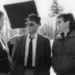 John Candy, Steve Martin e John Hughes insieme sul set di Un biglietto in due (Planes, Trains and Automobiles, USA 1987)