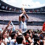 Diego Armando Maradona festeggia la Coppa del Mondo 1986 nel documentario Diego Maradona di Asif Kapadia (UK, 2919)