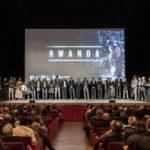 Il cast sul palco al termina dell'acclamata proiezione di Rwanda di Riccardo Salvetti (Italia, 2018)