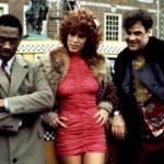 Eddie Murphy, Jamie Lee Curtis e Dan Aykroyd in un momento di Una poltrona per due di John Landis (Trading Places, USA 1983)