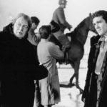Alan Parker con Antonio Banderas sul set di Evita (1996)