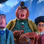 I tre personaggi principali del film d'animazione Mister Link di Chris Butler (Missing Link, USA, Canada 2019)